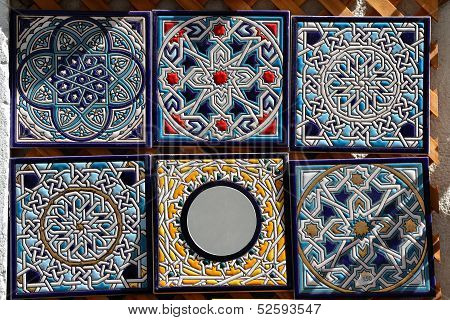 Decorative hand painted ceramic tiles for sale.
