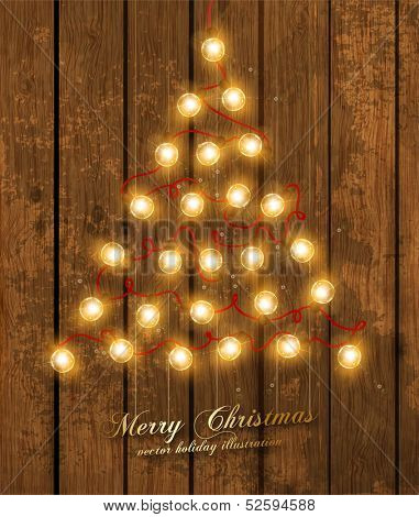 Christmas Tree Made of Christmas lights, holiday vector