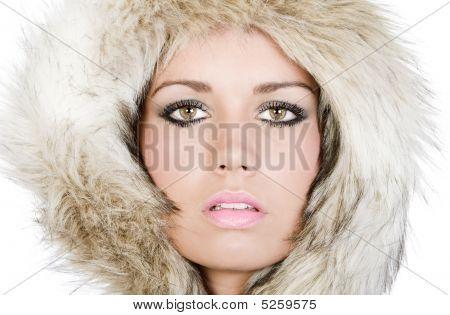 Shot Of A Pretty Teenager In Fur Hood
