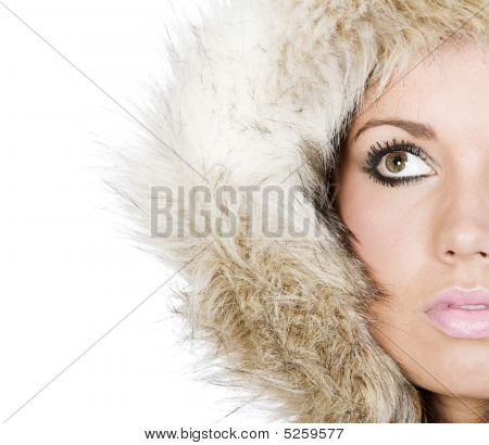 Shot Of A Beautiful Teen In Fur Hood