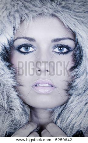 Headshot Of A Stunning Teenage Girl In Fur Hood