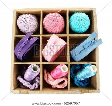 Multicolored skeins of thread and fasteners in box isolated on white