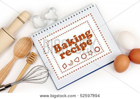 Cooking concept. Basic baking ingredients and kitchen tools close up