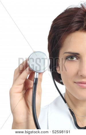 Beautiful Doctor Woman Holding A Stethoscope Ready To Auscultate