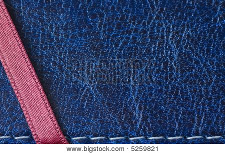 Blue Leather Cover With Red Ribbon