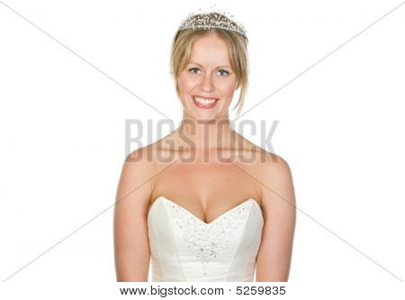 Beautiful Blonde Bride With White Copyspace