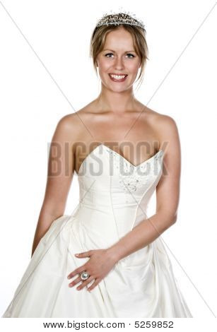 Attractive Blonde Girl In Wedding Dress