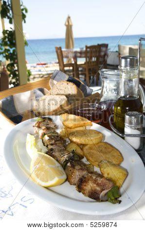 Greek Island Taverna Specialty Pork Souvlaki Shish Kebap Kebob