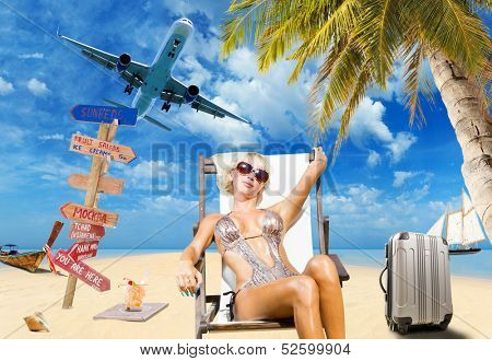 Young woman on the beach Travel concept