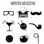 picture of glass-wool  - hipster detective icon vector - JPG