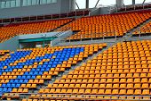 stock photo of grandstand  - Seat grandstand in an empty stadium   - JPG