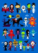 stock photo of jack o lanterns  - Monsters Mash Halloween Cartoon Characters including Vampires - JPG