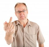 stock photo of obscene  - Grumpy Man Giving the Middle Finger - JPG