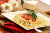 Delicious Spaghetti Past With Red Sauce poster
