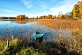 foto of glorious  - Glorious autumn morning by a lake in Sweden - JPG