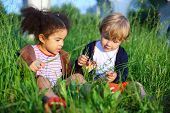 picture of arch foot  - Little girl and boy sitting in the grass and consider a blade of grass - JPG