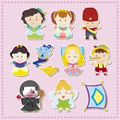 stock photo of genie  - cute cartoon story people icons - JPG