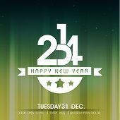 stock photo of calendar 2014  - Shiny Happy New Year 2014 celebration party poster - JPG