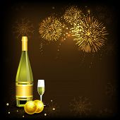 Happy New Year night celebration concept with champagne bottle, glass and beautiful fireworks in the