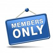 picture of restriction  - members only icon sign or sticker become a member and join here to get your membership label - JPG