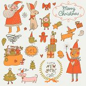 stock photo of rabbit year  - Stylish New Year and Christmas set in vector - JPG