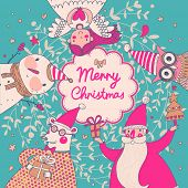picture of snowmen  - Stylish vector Merry Christmas card in bright colors - JPG