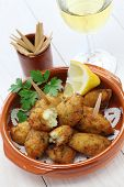 stock photo of pasteis  - salt cod croquettes - JPG