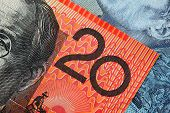 stock photo of twenty dollars  - Detail from an Australian twenty dollar note - JPG