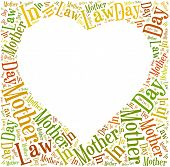 picture of mother law  - Tag or word cloud Mother In Law day related in shape of heart frame with empty space for text or photo - JPG