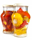 pic of marinade  - Marinaded tomatoes stuffed and bush pumpkins and vegetable marrows in a glass jar - JPG