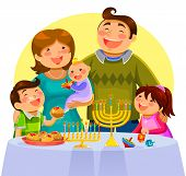 stock photo of dreidel  - happy young cartoon family celebrating Hanukah together - JPG