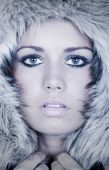 Headshot Of A Stunning Teenage Girl In Fur Hood
