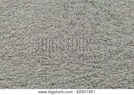 Grey Natural Plush Terry Cloth Turkish Bath / Beach Towel, Textured Fabric Macro Background Closeup