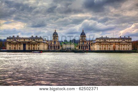 LONDON, UK - MARCH 29, 2014 Greenwich view and river Thames from dockland s side, HDR proceeding