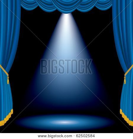 vector blue stage with one white spot light