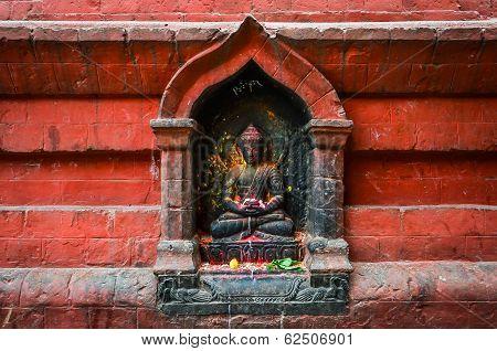 Detail Of Buddha Statue On Swayambhu Temple, Kathmandu
