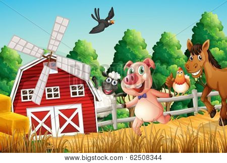 Illustration of happy farm animals