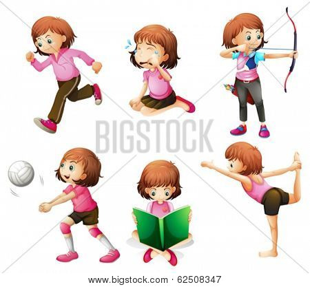 Illustration of the different activities of a little lady on a white background
