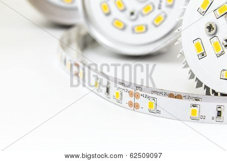 Part Of Led Lamps And Strip With 3-chip Smd Modules