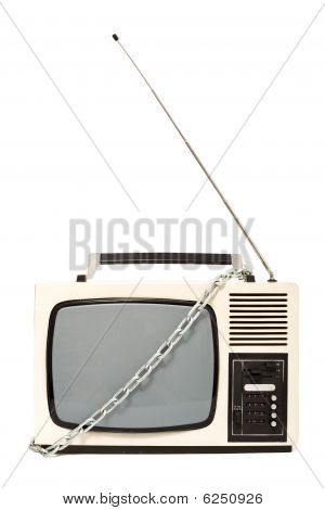 Chained Vintage Television Set