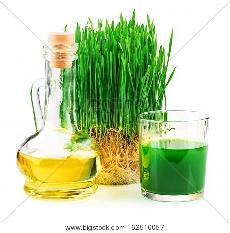Wheatgrass Juice With Sprouted Wheat And Wheat Germ Oil