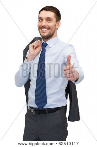 business and office concept - handsome buisnessman with jacket over shoulder showing thumbs up
