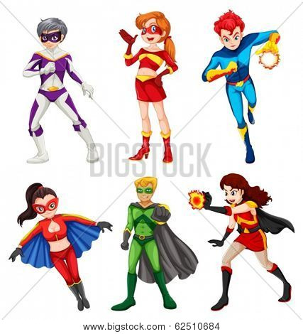 Illustration of the six superheroes on a white background