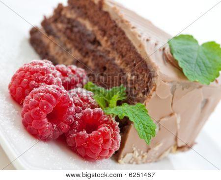 Fresh Chocolate Cake With Raspberries