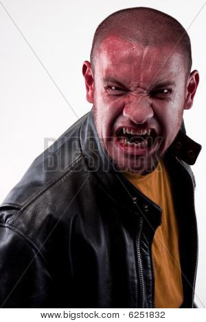 Red faced angry man