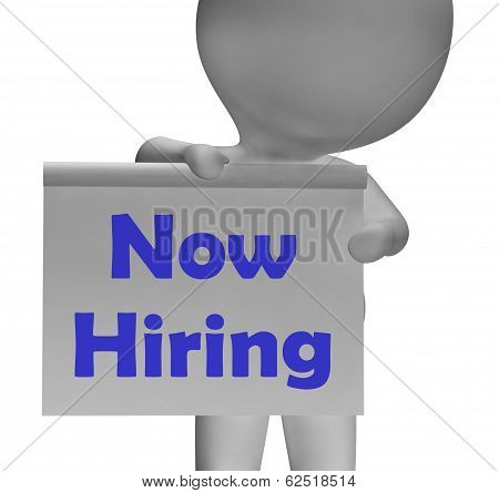 Now Hiring Sign Shows Recruitment And Job Opening