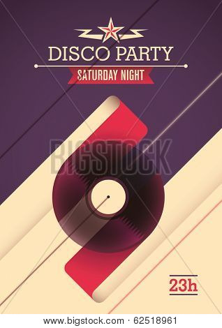 Disco party poster design. Vector illustration.