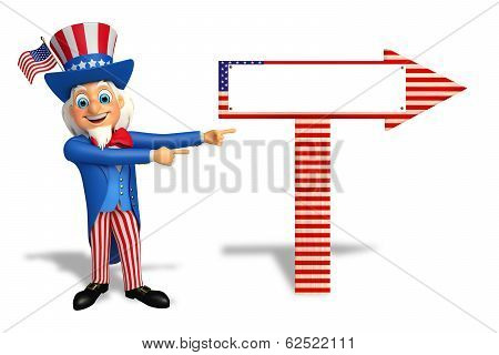 uncle sam pointing towards wooden sign
