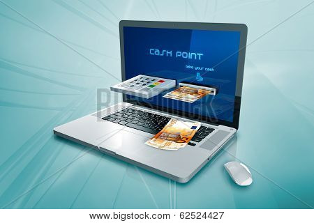 a laptop with with a cash distributor