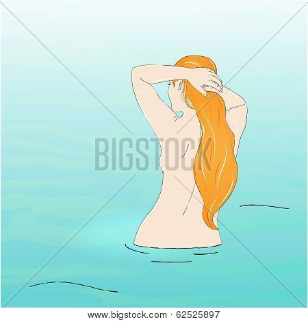 Vector sketch of naked woman in water